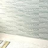 DIY papel de pared pintado decoración Fondo de Pantalla PE Foam 3D pegatinas Adhesivos de pared de bricolaje Decoración de pared papel ladrillo blanco Adorno de piedra de ladrillo (60 X 60 X 0.78cm, Azul)