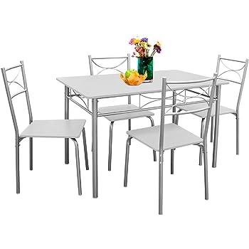 Deuba 5 tlg. Sitzgruppe »Paul« Weiß   Esstisch mit 4 Stühlen   für ...