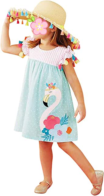 chicolife Kids Baby Cute Cartoon Animal Stampa Abiti Casual Abiti Manica Corta Vestiti Toddler Summer Outfits