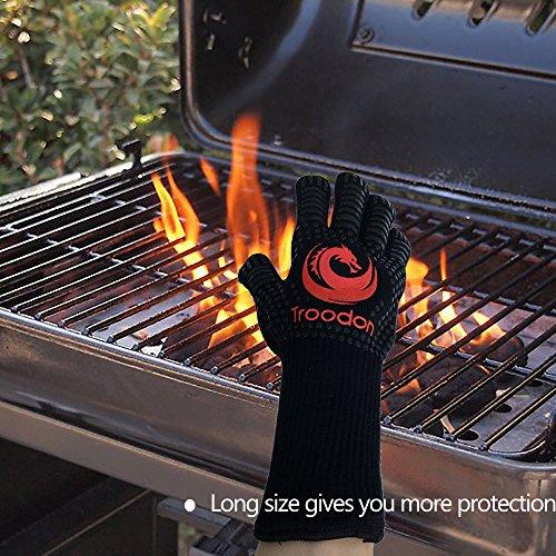 616CKPWfIOL - Premium Grillhandschuhe(1 Paar), Troodon Extreme 500 ° C Hitzebeständig Ofenhandschuhe No-Slip Silikon Griff Ofen Mitts Camping Handschuhe 33cm Long Cut Resistant Unterarm Schutz