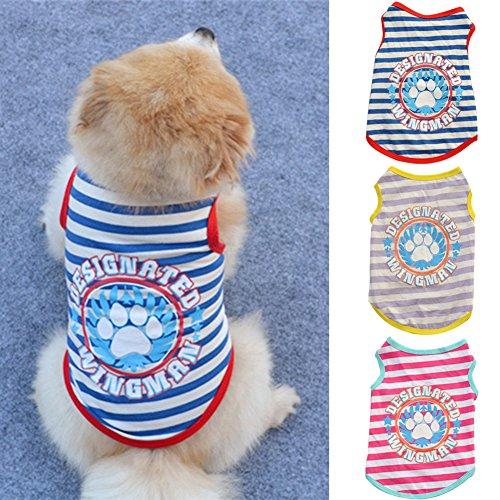 Strigemusimak Cute Paw Streifen gedruckt Cotton Dog Hundespfert-Herbst-imul-eless-Tierkleidung-Blue -