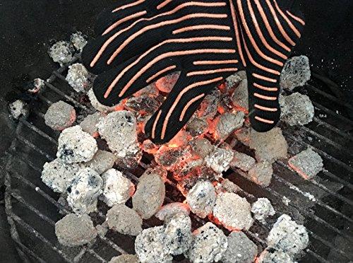 616CMClsDeL - Premium Grillhandschuhe / 2er Set / Bis 500°C Hitzebeständig / EN407 Zertifizierte Ofenhandschuhe Aus Kevlar-Nomex Gewebe / Extra Lang Zum Grillen, Kochen & Backen / Ess-Nische Backhandschuhe
