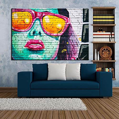 Living Modern Graffiti Art Wall Painting Fashion Girl Canvas Painting Stampa digitale Poster Decorazione domestica Illustrazione 70x100cm frameless come imm