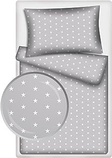 Kinderbettw/äsche 120 x 90 Bettw/äsche baby Set babybettw/äsche 90X120 kuschelig 2 teilig mit Kissenbezug 40x60 cm 100/% Baumwolle blau grau
