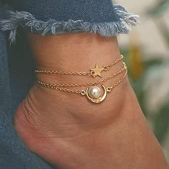 Ushiny Boho Moon Star Cavigliera Bracciale alla caviglia con perle d'oro Cavigliere a strati vintage Accessori per gioielli con catena a piedi da spiaggia estiva per donne e ragazze