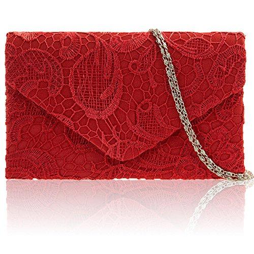 Zarla pochette con motivo floreale in pizzo, Borsa da donna, per abiti da sera, abiti da sera Rosso (rosso)