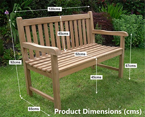 4ft 120cms 1.2m Chunky Teak 2 Seat Garden Park Bench Java Garden Furniture For Your Patio 1.2 metres