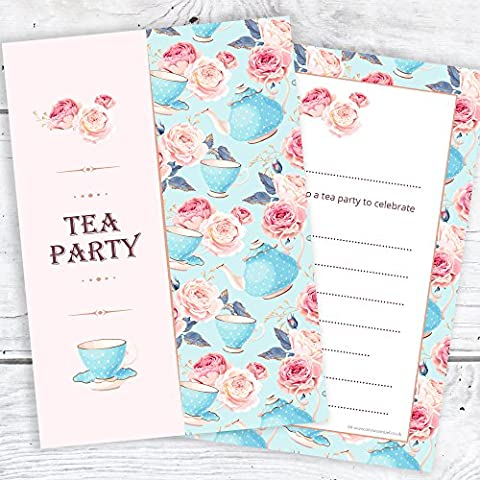 Tea Party Invitations - Ready to Write for Birthday Party or any celebration - Postcard Style (Pack of