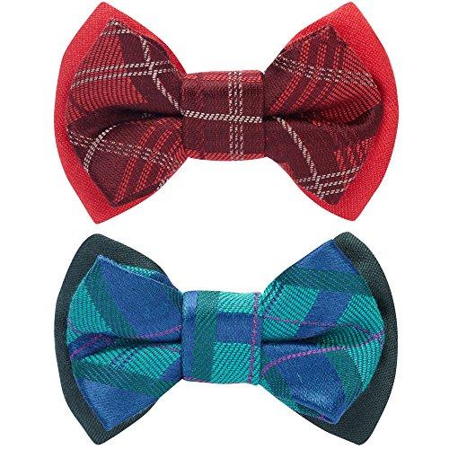 Blueberry Pet boîte cadeau avec lot de 2 Noeuds papillon pour chien et pour chat fait à la main, Ensemble de Nœuds papillon à carreaux style écossais existe en rouge écarlate et en vert émeraude, 7cm * 5 cm