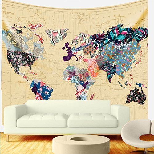Table World Map Mat (Bonnie Bone Floral Watercolor World Map Tapestry Colorful Printed Wall Hanging For Living Room Bedroom Dorm Home Decor (M:51.18