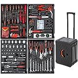 TecTake Maletín con herramientas 200pc piezas maleta trolley caja martillo alicates con 4 cajones