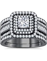 Silvernshine Enhancer Ring Guard & Engagement Ring Set Black Gold Plated Clear Sim Diamonds