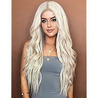 Kalyss 24 Zoll platinblondes lockiges welliges hitzebeständiges Haar Perücke für Frauen Mittelteil ohne Lace Front Haar…