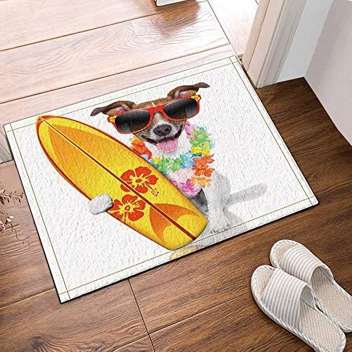 HTSJYJYT 1 braun gefleckter weißer süsser Welpe mit roter Sonnenbrille gelbes Surfbrett NewBathroom mat weich saugfähig Umweltschutz rutschfest