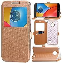 Motorola Moto E4 Funda, bdeals lujo [Ultra Thin] Carcasa de Cuero de la PU [Ver Ventana] Caso de la Cubierta del Tirón para Motorola Moto E4,oro
