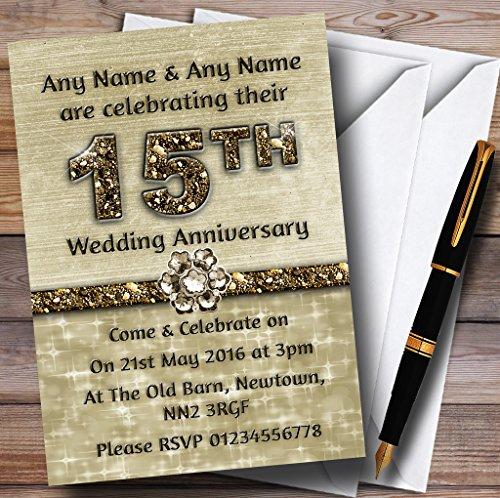 Titanio oro Sparkly 15personalizzato anniversario/inviti festa inviti e buste, 40 Invites & Envelopes