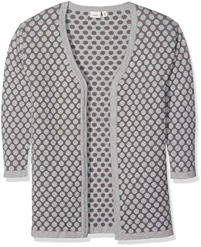 NAME IT Mädchen Strickjacke Nitibif LS Long Knit Card Nmt, Grau (Grey Melange), 158 (Herstellergröße: 158-164)