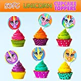 Children's Unicorn Cupcake Toppers Birthday Supplies Decoration, 50pc Mixed