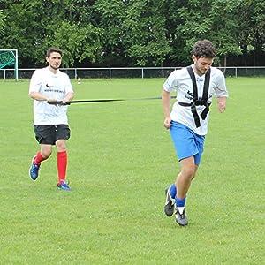 Sprintgurt mit Schultergurt für ein optimales Sprint- und Schnellkrafttraining, für Teamsportbedarf, Fußballtraining