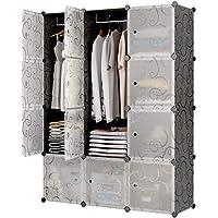 Hallo Home® Armoire Portable pour Suspendre Les vêtements, Armoire combinée, Armoire modulaire pour Un Gain de Place…