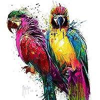 Parrot Art Red Keilrahmen-Bild Leinwand Papageien bunt Pop Michael Tarin