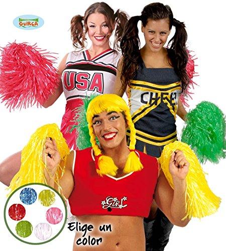Cheerleader Stab mit Lametta blau gelb Damen Karneval Fasching Party Stimmung Football (Cheerleader Blau Gelbe Kostüm)