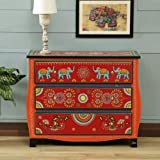 JAE Wooden Handpainted Chest of Drawer | Wooden Antique Cabinet for Storage | Solid Wood Chest | Wooden Drawer Furniture | 3