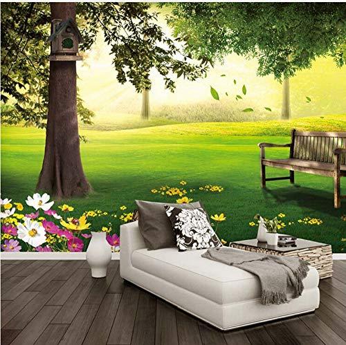 Fototapete Grüne Wiese Baum Natur Landschaft 3D Wandgemälde Wohnzimmer Schlafzimmer Design Gemütliche Umweltfreundliche Tapete Wohnkultur Möbeldekoration (W)250x(H)175cm