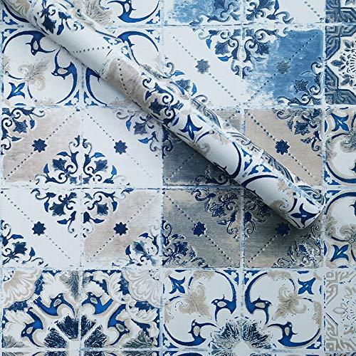 YIWAN Imitat fliesenmuster blau entfernbare wandaufkleber tapetenaufkleber selbstklebend wasserdicht und ölbeständig Kunst Schlafzimmer küche Badezimmer wandbild h1229