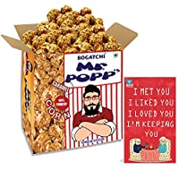 BOGATCHI Mr.POPP's Caramel Popcorn, 100% Crunchy HandCrafted Gourmet Popcorn Snacks | NO Microwave needed | Best Movie / TV Time Snack, Best Anniversary Gift for Parents , 375g + FREE Happy Anniversary Greeting Card