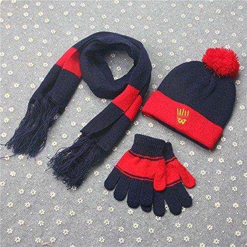 Blau Stricken Hut-set (stts Koreanische Kinder Dreiteilige Warme Winter Plus Samt Jungen und Mädchen Stricken Hut Schal Handschuhe Set,Navy blau)