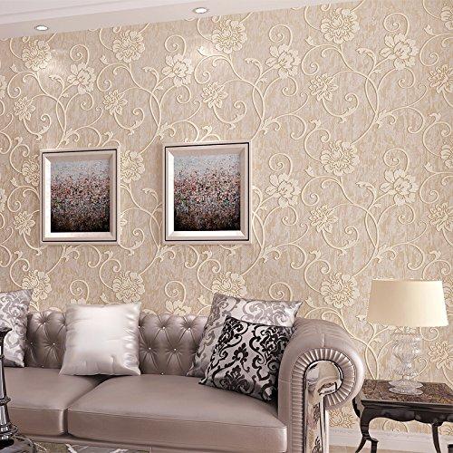 XXTT-Carta da parati stile europeo, stereo 3D Sfondi in tessuto non tessuto, dolce giardino farfalle e fiori, camera da letto soggiorno sfondo TV ,