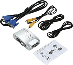 Terabyte VGA to AV RCA Pal TV S-Video Signal Adapter Converter Box (Multicolor)