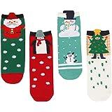 LAEMILIA Lot de 3 Adulte Unisexe Chaussettes Thermiques Fille Noël Femme Souple Cadeau Fête Christmas