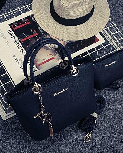 Borse spalla borsa di modo signore sacchetti messaggero donne 2 Pezzi Nero Blu
