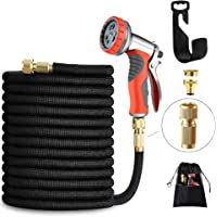 LUFENG UPGRADED Garden Hose 50FT 15M Expandable with Strongest Double Latex Core Water Hose Pipe with Solid Brass…