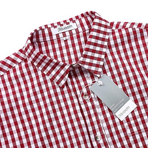 KoJooin TRACHTEN Herren Hemd Trachtenhemd Langarmhemd Freizeithemd Baumwolle - für Oktoberfest, Business, Freizeit (Rot XL) - 5