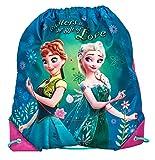 Disney Frozen - Die Eiskönigin Elsa Anna Olaf - Turnbeutel Sportbeutel Schuhbeutel, 38 x 34 cm, tuerkis