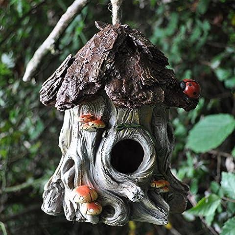 Decorative Bird House with Hanging Rope Ladybug Tree Fun Garden