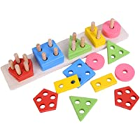 CraftDev Wooden Intellectual Geometric Shapes Matching Five Column Blocks Educational & Learning Toys for Kids +3 Years