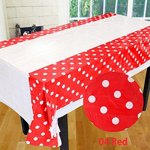 rungao 108* 180cm Lunares Mantel De Plástico Para Fiesta para Niños Fiesta de cumpleaños Decoración