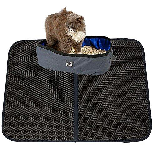 Alfombrilla de arena para gato Petneces, trampa de arena para gatos, doble capa impermeable, diseño de panal, mejor control de salpicaduras, trampas de arena de caja y patas