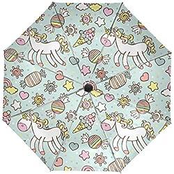 Mi Diario unicornio y Candy viaje automático abrir/cerrar paraguas con Anti-UV resistente al viento ligero