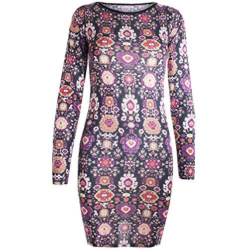 Pour femmes Imprimé floral manches longues coupe slim élastique Mini robe moulante Noir Suzani