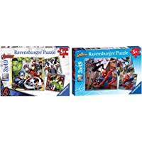 Ravensburger Marvel Avengers Assemble 3x 49 Piece Jigsaw Puzzles for Kids Age 5 Years and Up & Marvel Spiderman - 3 x 49…