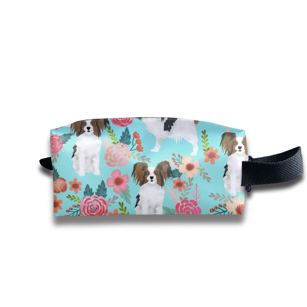 Papillons Florals Mint Cute Dog Fabric Toy Spaniels Dogs Cute Toy Breed Dog Florals Mint Best Pet Papillong Gift_486 Portable Travel Makeup Cosmetic Bags Organizer Multifunction Case Bags for Unisex
