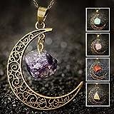 Collar con colgante de cristal de piedra natural simbólicamente simple con cristales de luna, joyas ajustables para mujeres y niñas