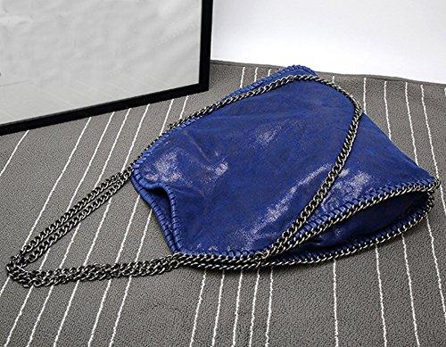 Rovanci I Sacchetti Di Acquisto Del Sacchetto Di Spalla Brillano La Cinghia Chain Elegante Delle Borse Delle Donne Di Silver Blu