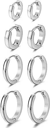Cupimatch, orecchini da donna, 4 paia di orecchini a cerchio in acciaio inox lucido, orecchini da donna e uomo, gioielli per orecchio, nero, oro, argento