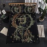 Bettwäsche Set Mandala Blumen Sun Star Moon Bettbezug mit Kissenbezug Schwarz Dark Blue Bettbezug Einzelgröße Doppelte King Size Bed Cover (Mond Sun Fusion, 135x200cm)